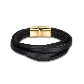 Sleek Black Leather Gold Buckle Bracelet|https://ak1.ostkcdn.com/images/products/18128708/P24281322.jpg?impolicy=medium