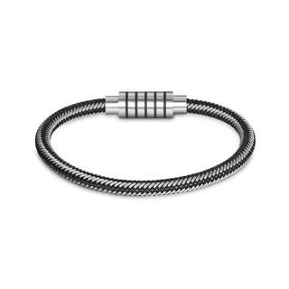 Sleek Black Leather Metallic Silver Intertwined Bracelet|https://ak1.ostkcdn.com/images/products/18128713/P24281326.jpg?impolicy=medium