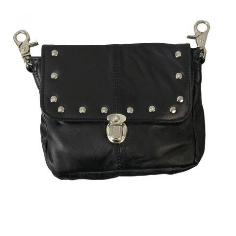 AFONiE Bikers with Detachable Strap Leather Crossbody Handbag