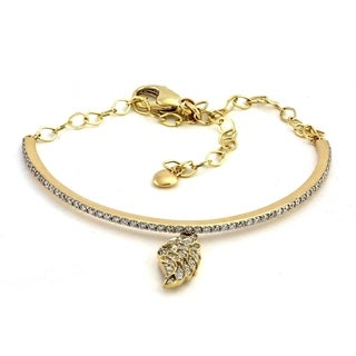 14K Yellow Gold 1 Carat Half Bangle with Angel Wing Dangle - White