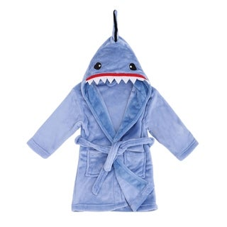Arctic Paw Kids' Zoo Crew Plush Soft Hooded Terry Bathrobes - Shark (Grey or Blue) (2 options available)