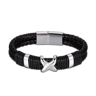 Black Genuine Leather Criss-Cross Metallic Silver Bracelet|https://ak1.ostkcdn.com/images/products/18128854/P24281435.jpg?impolicy=medium
