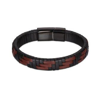 Burgandy & Black Genuine Leather Bracelet|https://ak1.ostkcdn.com/images/products/18128858/P24281439.jpg?impolicy=medium