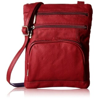 AFONiE Super Soft Leather Crossbody Bag - 8 Colors (Option: Red)