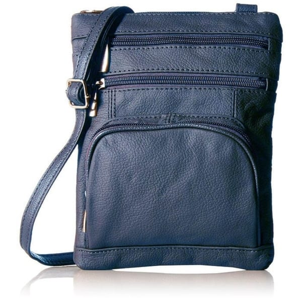 Soft Leather Cross Body Bag Made with Genuine and Soft Calf Leather 416 Navy blue