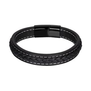 Black Leather White Lining Belt Buckle Bracelet|https://ak1.ostkcdn.com/images/products/18128870/P24281464.jpg?impolicy=medium