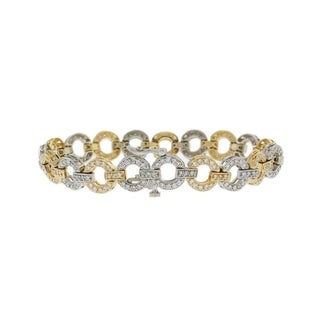 14K Yellow and White Gold 3 Carat Open Circle Diamond Link Bracelet