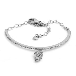 14K White Gold 1 Carat Half Bangle with Angel Wing Dangle
