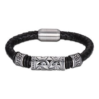Black Genuine Leather Celtic Design Bracelet|https://ak1.ostkcdn.com/images/products/18128906/P24281457.jpg?_ostk_perf_=percv&impolicy=medium