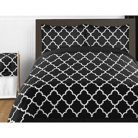 Sweet Jojo Designs Black and White Trellis Collection 4pc Twin Bedding Set