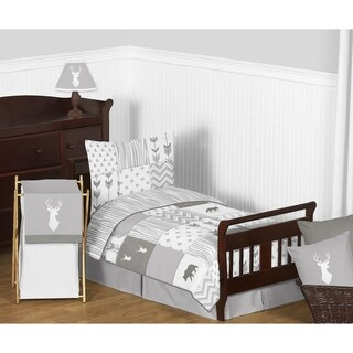 5pc Toddler Bedding Set for the Grey and White Woodsy Collection by Sweet Jojo Designs