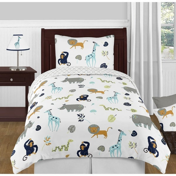 4pc Twin Bedding Set for the Mod Jungle Collection by Sweet Jojo Designs. Opens flyout.
