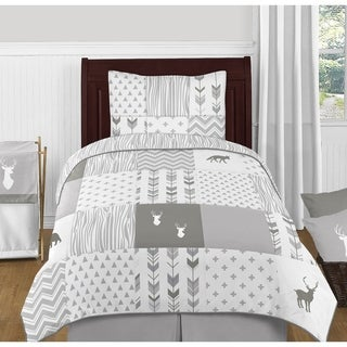 4pc Twin Bedding Set for the Grey and White Woodsy Collection by Sweet Jojo Designs