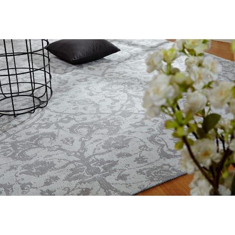 "Jardin Hazy Platinum Hand Made Area Rug (2'6"" x 10') - 2'6"" x 10'"