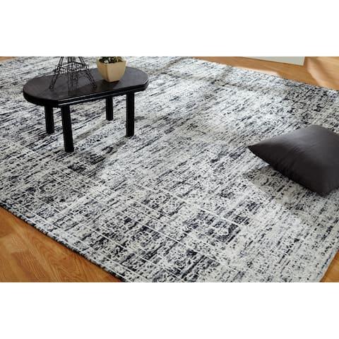 "Jardin Hazy Charcoal Hand Made Area Rug (3'6"" x 5'6"") - 3'6"" x 5'6"""