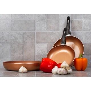 3 Pack Healthy Ceramic Frying Pan Set - Nonstick Ceramic Copper Pan