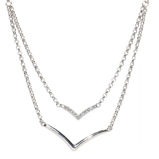 Kabella Sterling Silver V with Cubic Zirconia Necklace - White