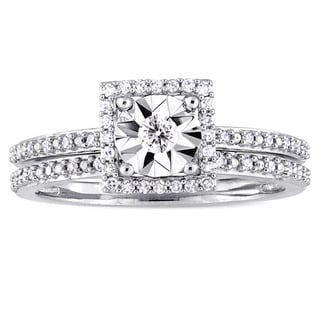Miadora Signature Collection 10k White Gold 1/4ct TDW Diamond Square Halo Bridal Ring Set