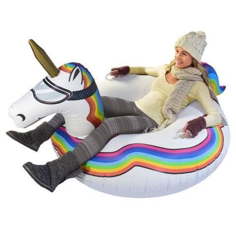 GoFloats Winter Snow Tube - Unicorn - The Ultimate Sled & Toboggan