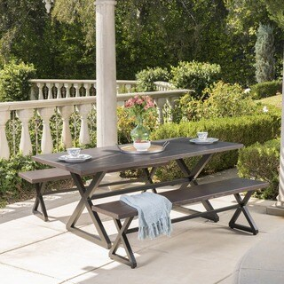 Rolando Outdoor 3-piece Aluminum Picnic Dining Set by Christopher Knight Home