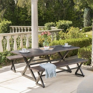 Rolando Outdoor 3 Piece Aluminum Picnic Dining Set By Christopher Knight  Home