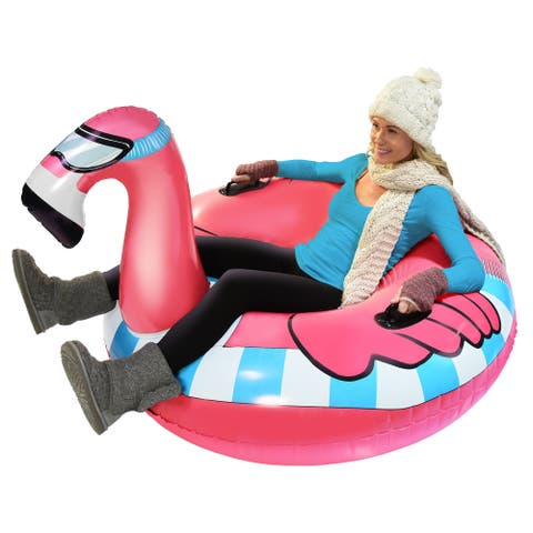 GoFloats Winter Snow Tube - Flying Flamingo - The Ultimate Sled & Toboggan