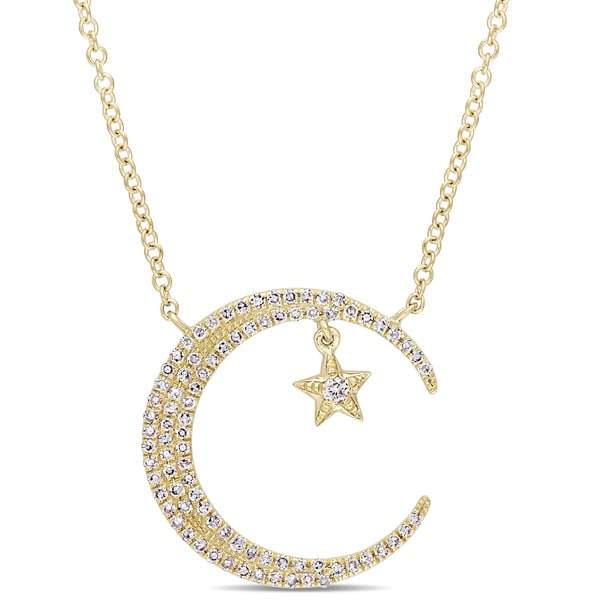 Miadora Signature Collection 14k Yellow Gold 1/5ct TDW Diamond Crescent Moon and Star Adjustable Necklace