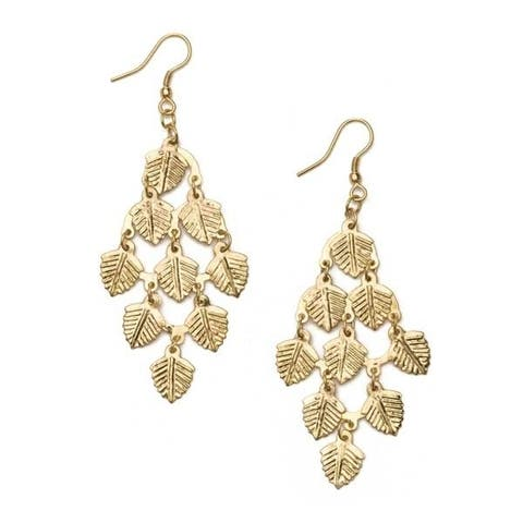 Handmade Falling Leaves Gold Earrings (India)