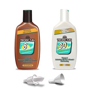 GoPong Sunscreen Flask 2 Pack - Tropic Tan Classic Bottle Style, Includes Funnel and Liquor Pour Spout