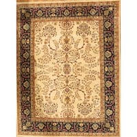 """Pasargad Sarouk Collection Ivory/Navy Hand-Knotted Wool Rug (13' 9"""" X 19'10"""")"""