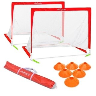 GoSports 4' Size Portable Goal Set - Includes 2 4' Goals, 6 Cones & Carrying Case, Soccer, Regulation