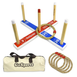 GoSports Premium Wooden Ring Toss Game with Carrying Case, Great for all Ages