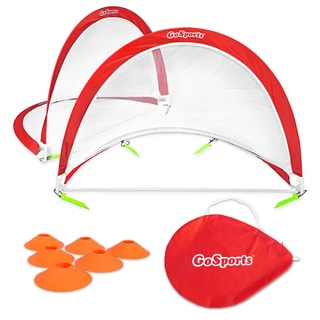GoSports Portable Pop-Up Soccer Goal (Set of 2), Red/White, 6'