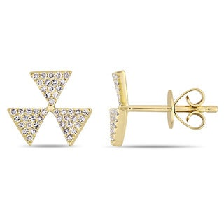 Miadora Signature Collection 14k Yellow Gold 1/4ct TDW Diamond Threefold Symbol Cluster Stud Earrings