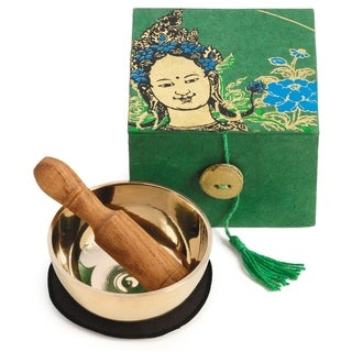 Handmade Meditation Bowl Box: 3'' Green Tara (Nepal)