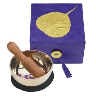 Handmade Meditation Bowl Box: 3'' Gold Bodhi, Purple (Nepal)