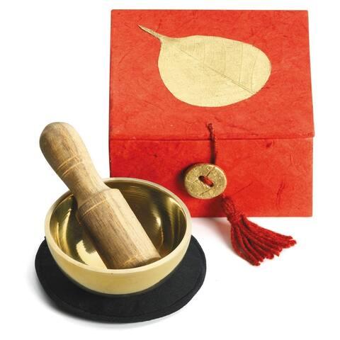 "Handmade Mini Meditation Bowl Box: 2"" Gold Bodhi (Nepal)"