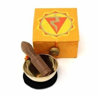 "Handmade Mini Meditation Bowl Box: 2"" Solar Plexus Chakra (Nepal)"