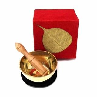 Handmade Meditation Bowl Box: 3''Gold Bodhi (Nepal)