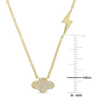 Miadora Signature Collection 14k Yellow Gold Diamond Accent Thunder and Lightning Bolt Station Necklace