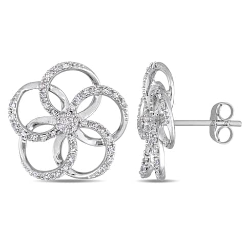 Miadora Signature Collection 14k White Gold 1/3ct TDW Diamond Interlaced Floral Stud Earrings