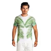 21 Men Green White Palm Tree Crew Neck Print Shirt