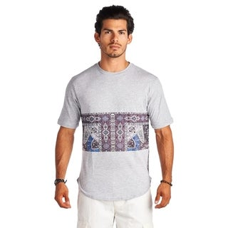 21 Men Gray and Mid Part Print Crew Neck Short Sleeve Shirt