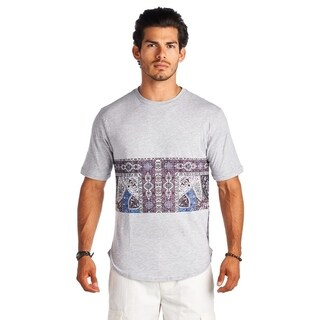 21 Men Gray and Mid Part Print Crew Neck Short Sleeve Shirt