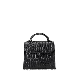 Liebeskind Berlin Glendale Croco Embossed Oil Black Leather Mini Top-Handle Handbag|https://ak1.ostkcdn.com/images/products/18129152/P24281713.jpg?impolicy=medium