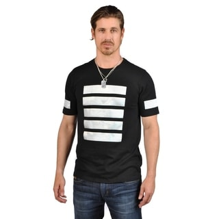 21 Men Black With 5 White Front Stripes Crew Neck Short Sleeve Shirts