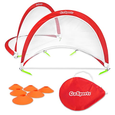 GoSports Portable Pop-Up Soccer Goal (Set of 2), Red/White, 4'