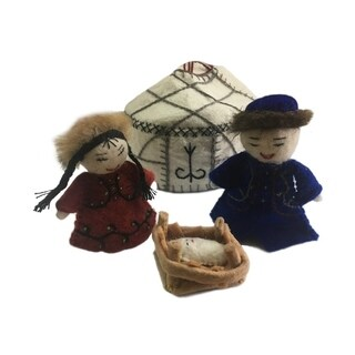 Handmade Felt Yurt Nativity White (Kyrgyzstan)