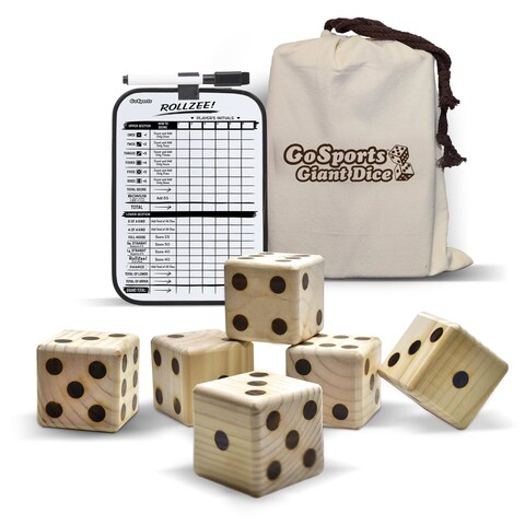 """GoSports Giant 2.5"""" Dice Set with Bonus Rollzee Scoreboard Includes 6 Dice, Dry-Erase Scoreboard and Canvas Carrying Bag"""
