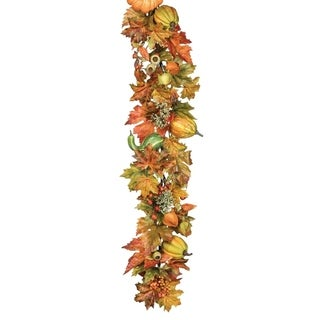 Fall Foliage Garland with Pumpkins & Gourds